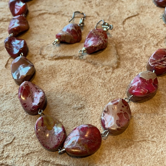 Jewelry - Hand Beaded Necklace and Earring Set